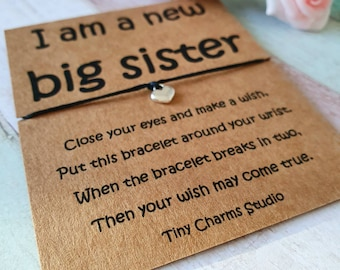 baby announcement big sister, Personalised big sister gift wish bracelet