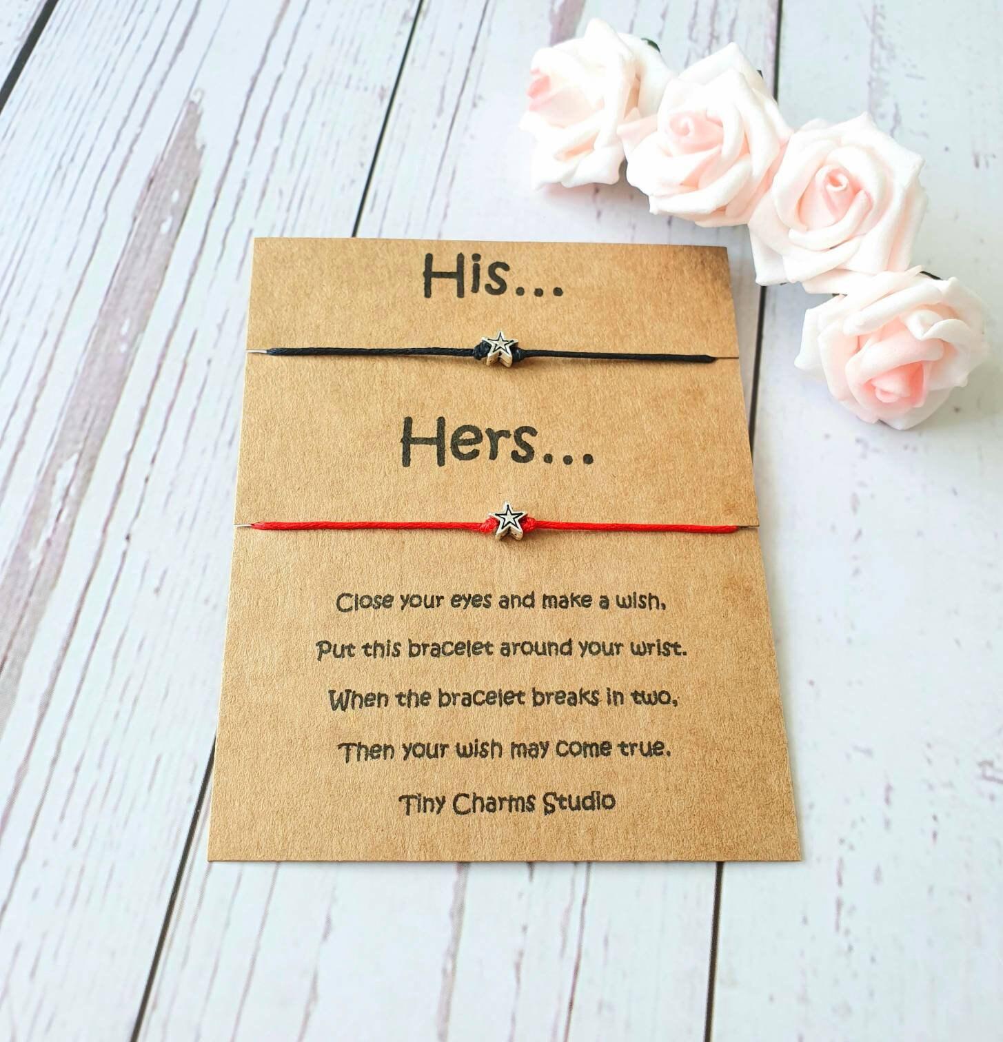 Friendship Wish Bracelet Couples Gift Keepsake Card Pinky Promise Best Friend