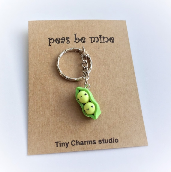 Two Peas In A Pod Keychain,Couples Gift, Valentines Gift, Keepsake Gift, Unique Gift, Polymer Clay Charm, Birthday Gift by Etsy