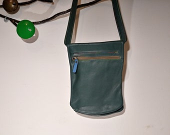 Leather waist bag double pocket