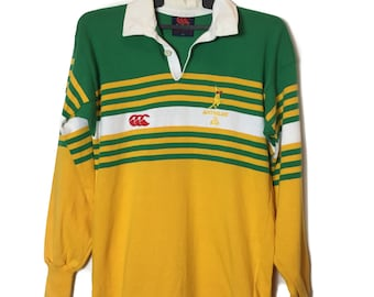 31ff3c1ba92 Vintage Rare Canterbury of New Zealand Striped Green Yellow Shirt /  Wallabee Rugby australia / Australia wallabee / Polo Rugby shirt