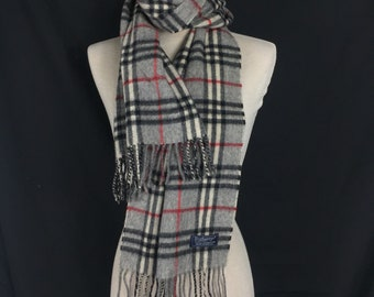 a945843d0 Authentic Burberry Lambswool Scarf Muffler Grey Checkered Nova Check (58x12)