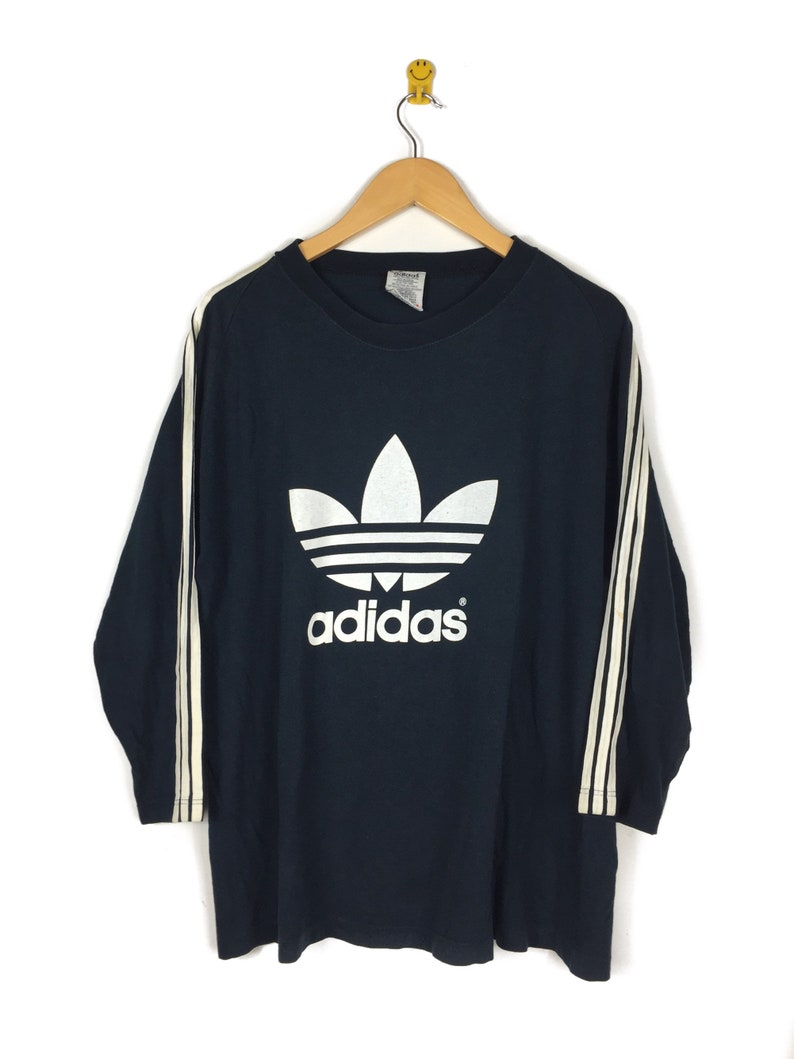 08b9ed6164e07 Vintage Adidas 3 Stripes Long Sleeve Big Logo Spell Out Front Back Printed  Sz M