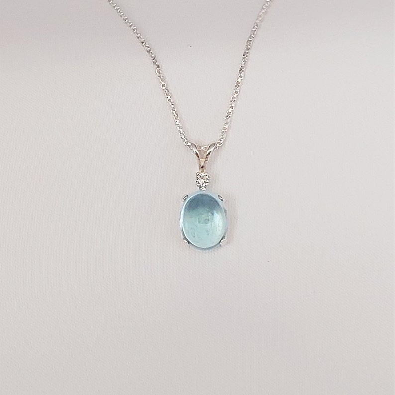 1102 Details about  /Pearl Agate Sapphire 925 Sterling Silver Chain Pendant For Women /& Girls
