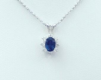 Sterling Silver Sapphire & Zircon Pendant