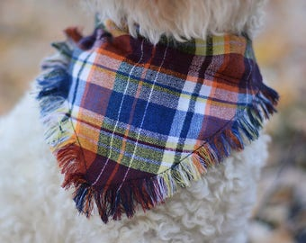 Frayed over the collar dog bandana / fall bandana / dog bandana /pet bandana / over the collar / puppy bandana / slip on dog bandana