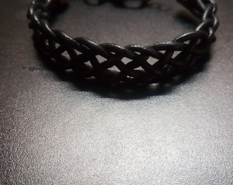 Braided Leather and Copper Bracelet