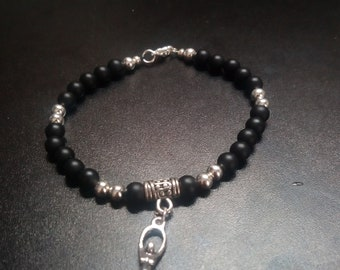 Onyx and Sterling Silver Goddess Bracelet