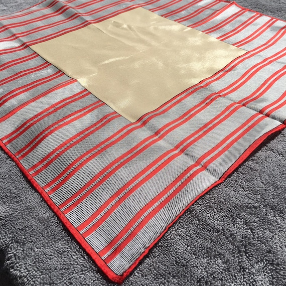 Vintage 1970's Beige Bandana/Scarf with Red Stripe