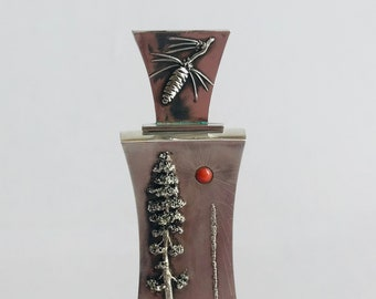 For Two Scents by Robert Koeppler / Sterling Silver / Red Coral / Hand Crafted / Perfume bottle / Sterling Container