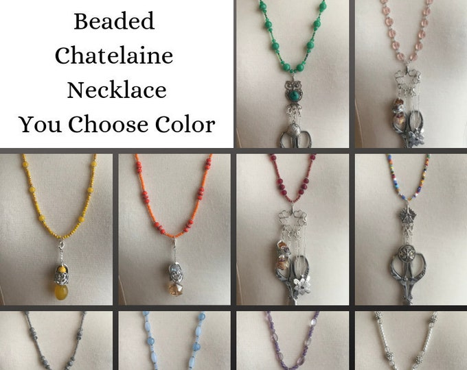 Featured listing image: Beaded Necklace for Chatelaine You Choose Color Thimbles by TJ Lane, Sewing Chatelaine, Gift for Quilters