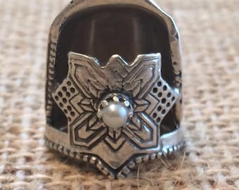 Jinny Beyer Thimble with Gem Open Nail Sewing Thimble by TJ Lane Sewing Thimble, Sterling Silver Thimble, Silver Thimble, Quilting Thimbles