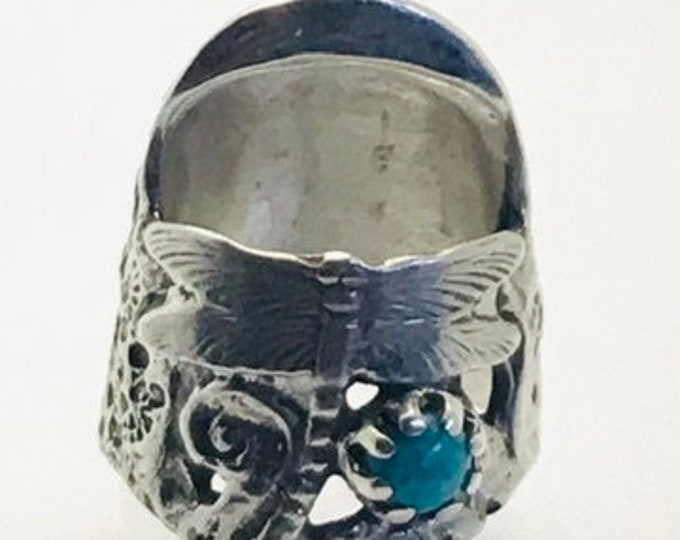 Featured listing image: Liz Dragonfly Thimble with Gem Open Nail Sewing Thimble by TJ Lane