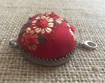 Pincushion Pendant Chatelaine Sterling Silver Pin Cushion Sewing Chatelaine by Thimbles by TJ Lane