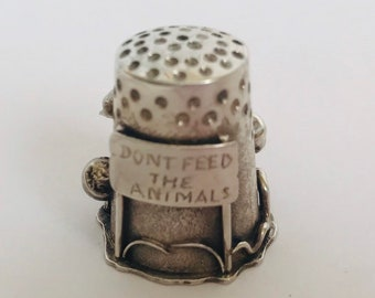 Don't Feed the Animals COLLECTORS Thimble by Robert Koeppler /Handcrafted Sterling Silver Collectors Thimble / Thimble One of a Kind
