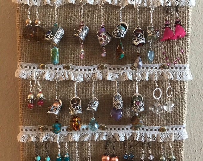 Featured listing image: Thimble Display, Jewelry Display, Earring Wall display, Burlap and Lace Earring Display, Shabby Decor Earring display, Boho Earring Display