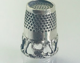 Open Hearts Band thimble with Quilters ridge Sterling Silver Sewing Thimble by TJ Lane