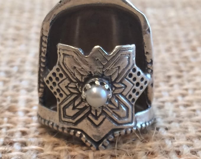 Featured listing image: Jinny Beyer Logo Blunt Fingertip Style  Thimble with Gem Open Nail Sewing Thimble by TJ Lane