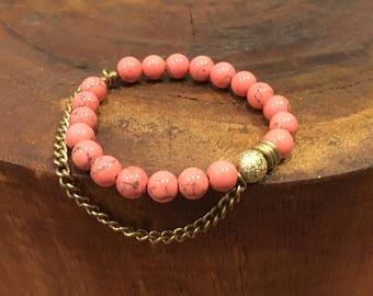 Coral Magnesite Beaded bracelet.  Stacked bracelet.
