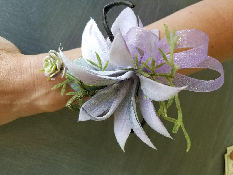 Silk light purple succulent wrist corsage