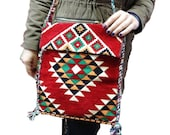 Kilim Bag,Turkish Rug,Carpet Design,Shoulder,Messenger Style,With Tassels and Beads,Daily Use,Bolsa Diaria,Sac Quotidien,Tägliche Tasche