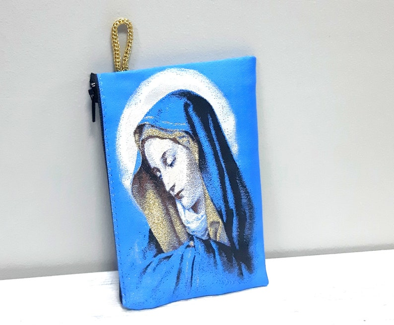 Catholic pouch Rosaries purse Madonna Jesus Case-Chaplet Bag-Icon holder Virgen Mary purse 5 pcs.,Holy Rosary pouch Religious Gift