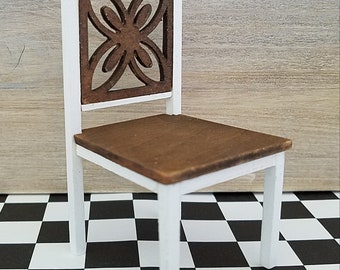 Miniature Chair, Dollhouse Chair, Walnut and White Chair, Dollhouse Furniture, Miniature Furniture, Dollhouse Miniatures, Desk Chair