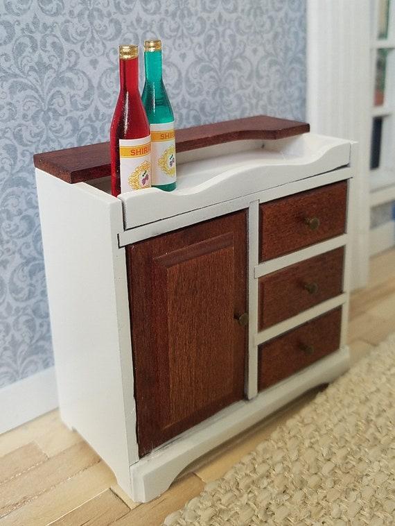 Vintage Miniature Wine Cabinet, Vintage Kitchen Island, Storage Cabinet,  Wine Bar, Dollhouse Furniture, Miniature Furniture
