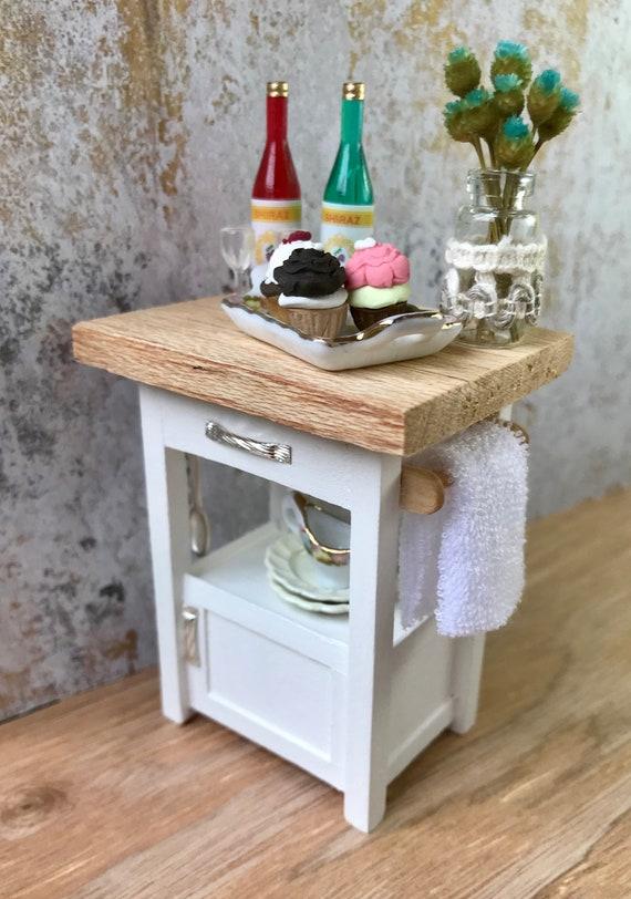 Sensational Miniature Kitchen Island Small Kitchen Island Kitchen Storage White Kitchen Island Dollhouse Furniture Dollhouse Room Box Diorama Dailytribune Chair Design For Home Dailytribuneorg