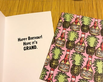 Pineapple Grand Marnier Birthday Card
