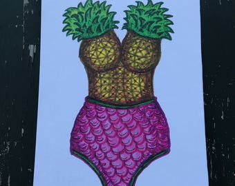 Pineapple Mermaid Bathing Suit