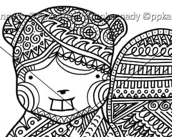 Beaver Zentangle Coloring Page
