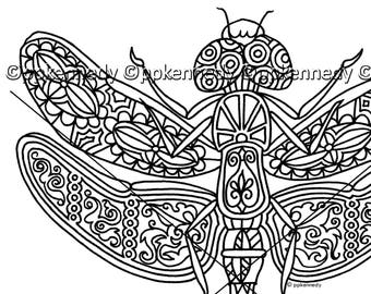 Dragonfly Zentangle Coloring Page