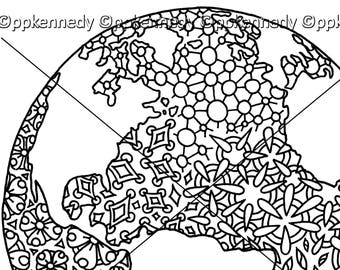 Earth Day Zentangle Coloring Page