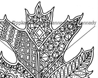 Oak Leaf Zentangle Coloring Page