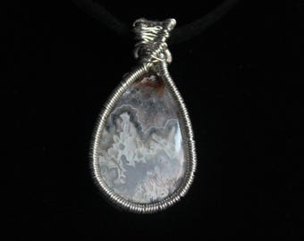Handmade Silver Wire-wrapped Lace Agate Pendant