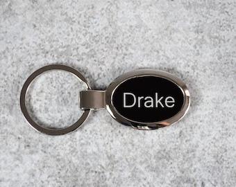Personalized Oval Keychain - Custom Engraved Keyring - Engraved Keychain - Black Keychain - Monogrammed Keychain - Stocking Stuffer