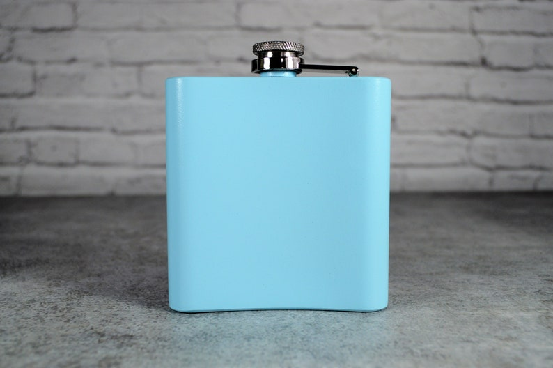 Wedding Party Gift Personalized Baby Blue Flask Light Blue Flask Bridesmaid Gift Bridesmaid Flask Custom Flask Engraved Flask