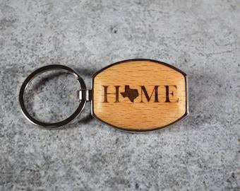Personalized Wood Keychain - Custom Texas Keyring - Five Year Anniversary Gift - Silver Keychain - State Keychain - Texas Home Keychain
