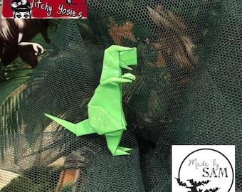 """Origami T-Rex Dinosaur Brooch """"Rexy"""""""