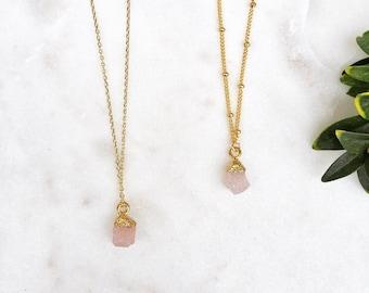 Tiny druzy pink quartz pendant necklace | raw quartz pendant necklace | Dainty raw stone druzy necklace | dainty pink stone gold filled |