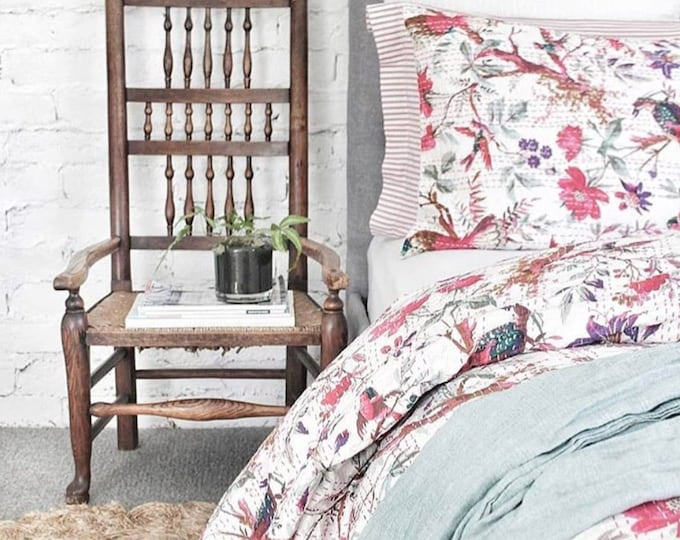 PREORDER - The Birdie • White • Queen King Bedding Set with pillowcases