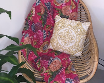 Kantha Throw - The Floral - Pink