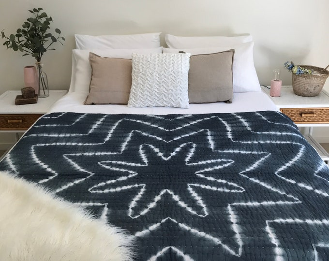 The Tie Dye • Smokey Grey • Square Padded Kantha Quilt