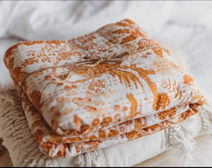 The Seasons • Autumn • Square Kantha Quilt