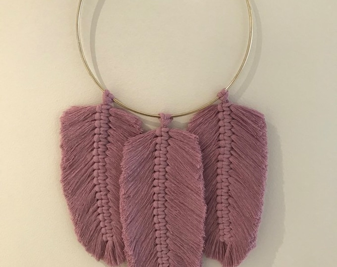 Large Macrame Dusty Rose 3 Feather Wall Hanging  - Natural 100% Cotton  - with large gold ring