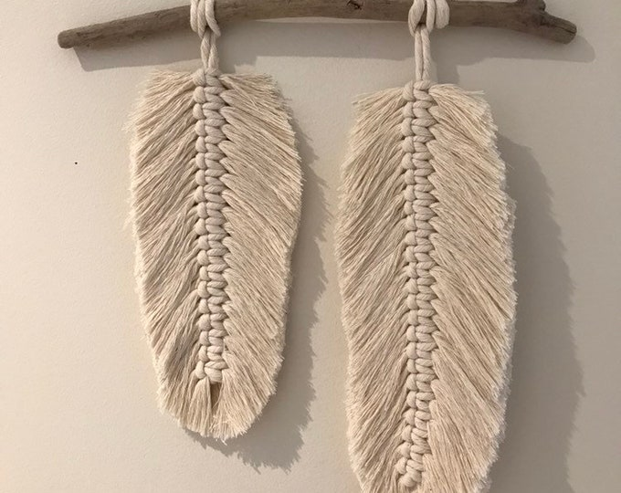 Macrame Feather on Driftwood - Double