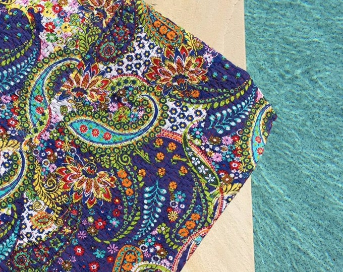 The Paisley • Royal Blue • Square Kantha Quilt