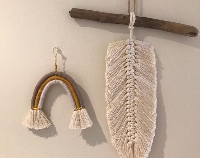 Macrame Feather on Driftwood - Single