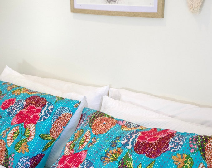 The Floral • Turquoise •  Pillowcase Organic Cotton